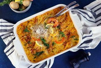 Fish and Shrimp Casserole with Saffron Sauce