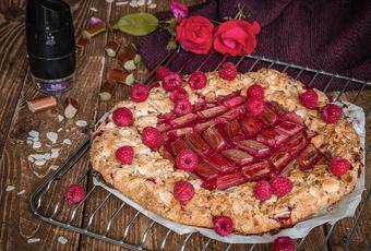 Rhubarb Raspberries Almond Galette with Black pepper from Vietnam