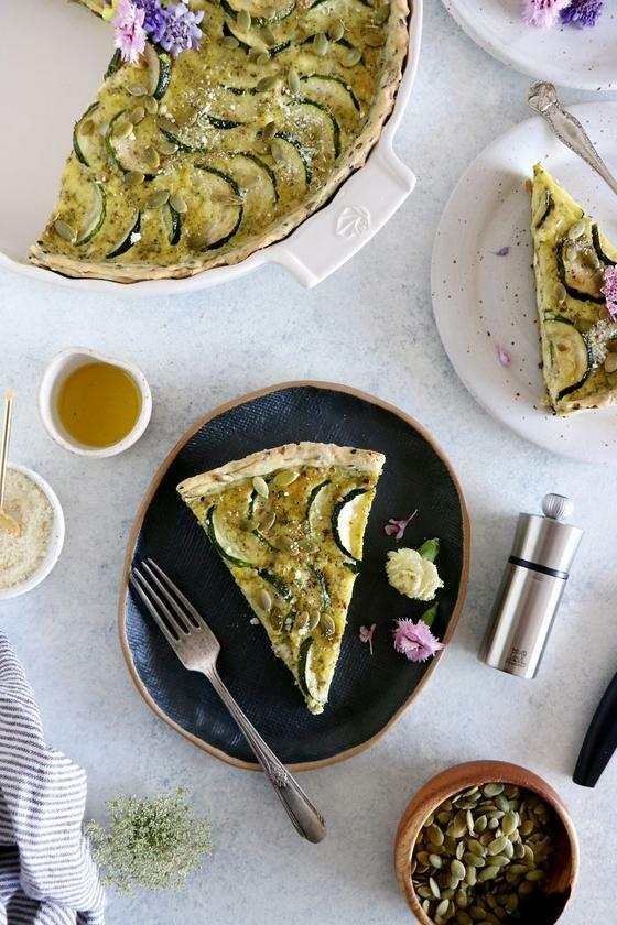Zucchini Quiche with Pesto and Seeds - Peugeot Saveurs